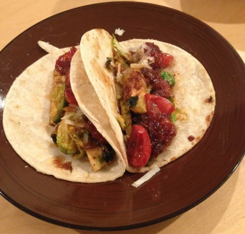 Brussels Sprout and Caramelized Shallot Salsa Tacos